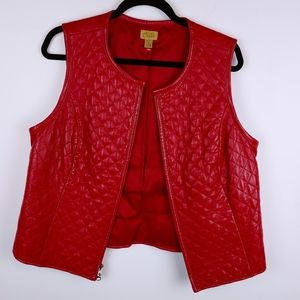 CASLON SOFT Red Lambskin Leather Vest, Quilted, LP